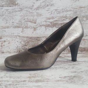Silver Pewter Metallic Pumps